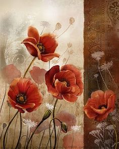 North American Art 'Wild Poppies II' by Conrad Knutson Framed Graphic Art Art Floral, Wild Poppies, China Painting, Art Graphique, Oeuvre D'art, Watercolor Flowers, Painting Inspiration, American Art, Framed Art Prints
