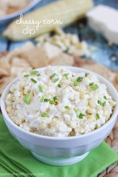 Cheesy Corn Dip - flavorful and creamy dip made from grilled corn and Cotija cheese. Best dip recipe for summer!