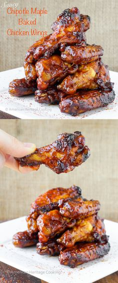 Saucy Chipotle Maple Baked Chicken Wings {GF} | An easy baked chicken wings recipe that has all the flavor without the deep fryer!!! ~American Heritage Cooking #recipe #chickenwings #tailgate #chipotle #maple