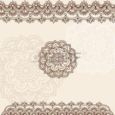 Mano-Drawn flores de Mehndi tatuaje de Henna y elementos de dise�o de ilustraci�n de frontera de Paisley Doodle photo