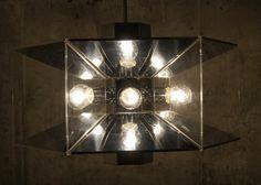 Chandelier by Fredrick Raymond Chrome Lucite by stukinmidcentury, $500.00