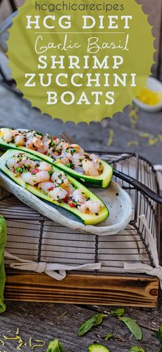 Phase 2 hCG Diet Seafood Recipe - 189 calories: Garlic Basil Shrimp in Roasted Zucchini Boats - hcgchicarecipes.com - protein + veggie meal #hcgrecipesphase2meals #seafoodrecipes