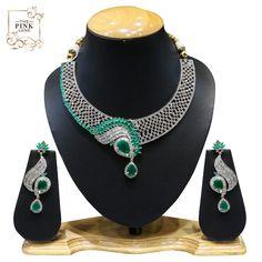 Designer Elegant American Diamond Necklace Set with Green Stones