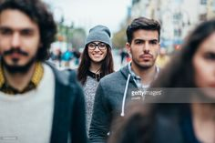 Stock Photo : Smiley face in the crowd