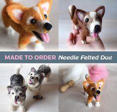 Made to order needle felted dog  Custom needle felted animal