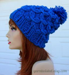 Bright Sapphire Blue Hand Knit Beanie / Hat / Slouch hat / Pom Pom hat - Charity - Women, Teen, Fashion accessories, winter, fall, christmas...