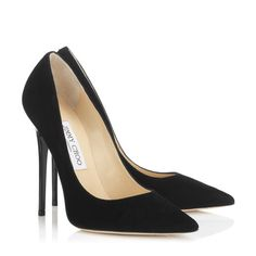Classic Black Suede Pointy Toe Pumps by Jimmy Choo