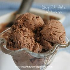 Easy Chocolate Ice Cream-no machine needed! I didn't believe ice cream could be good without an Ice Cream maker. I'd seen all these recipes floating around last year. My friend Dorothy at Crazy for Crust even did a round up post of them.  I had to find out for myself. I grew up on machine made...