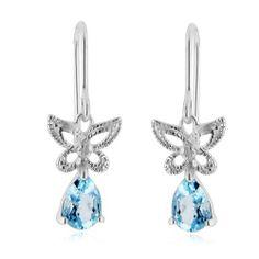 Diamond & Blue Topaz Butterfly Earrings in Sterling Silver Netaya. $19.95