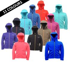 Regatta Kids CHAD Fleece Hooded Full zip top 3 - 15 Girls Boys Childrens Jacket