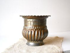 Vintage Egyptian Copper Washed Tin Pot by MomsantiquesNthings, $27.00