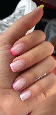 Chic Nail Designs, Cute Acrylic Nail Designs, Art Designs, French Tip Acrylic Nails, Cute Acrylic Nails, Pink French Manicure, Chic Nails, Stylish Nails, Almond Nails Trend