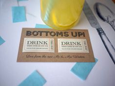 10 personalised double drink token voucher by SixpencePaperie