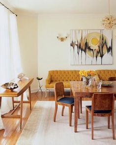 Vintage modern dining room: Art Deco burl wood table + Gio Ponti console, from Met Home by xJavierx, via Flickr - sweet console table!