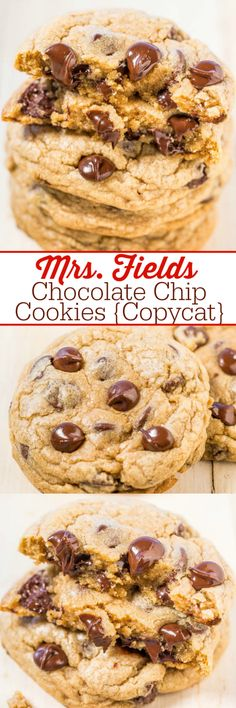 Mrs. Fields Chocolate Chip Cookies {Copycat} - Learn all the SECRETS to making the famous Mrs. Fields cookies at home!! The recipe is easy, spot-on, and they taste just like the real thing!!
