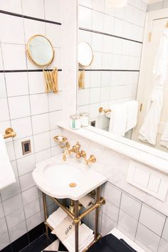 How to Do a Staycation at The Marlton Hotel: Head straight upstairs to your sophisticated dollhouse-sized room, and immediately run a bath in their super luxe marble and gold bathroom situation. | coveteur.com