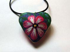 Alebrije heart pendant handmade Oaxaca.Mexican folk art /