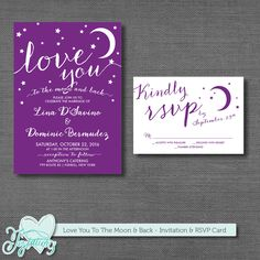 PRINTABLE - Love You to the Moon and Back - Wedding Invitation and RSVP Card. Print at home or at a local print shop! Printing options are also available. Visit my ETSY shop for details!
