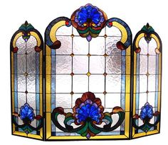 Tiffany Style Stained Glass Colorful Victorian Design Fireplace Screen x Victorian Fireplace Screens, Stained Glass Fireplace Screen, Decorative Fireplace Screens, Stained Glass Panels, Stained Glass Patterns, Stained Glass Art, Mosaic Glass, Leaded Glass, Art Nouveau