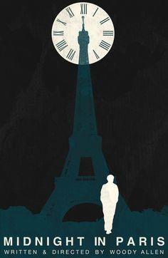 Poster minimalista de Meia-noite em Paris.