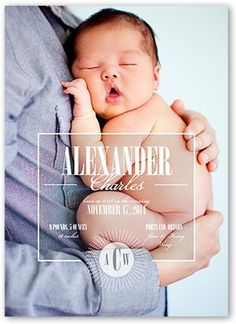 5x7 Stationery Card by Paper Plains. Announce your newest arrival with this stylish birth announcement. Add  your baby's name, a favorite photo and the news everyone's been waiting for.