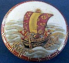 Vintage Satsuma button depicting sailing ship.