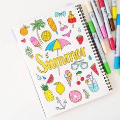 Summer handlettering and illustration by Luloveshandmade.