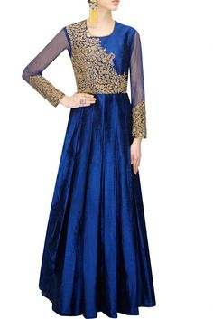 bfd70bfa7af Anoli Shah presents Dark blue dori embroidered pleated anarkali gown  available only at Pernia s Pop-Up Shop.