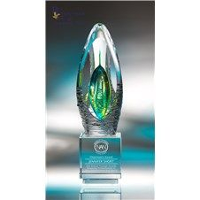 Elation Art Glass Award :: Our carefully selected art glass represents inspired works of art and a master display of craftsmanship all in one. These magical pieces feature lyrical swirls, rhythmic patterns of suspended air bubbles, and free flowing forms that make for fascinating conversation pieces. Each one-of-a-kind award is elevated perfectly on its optic crystal base. Please be aware that all pieces of art glass are individually crafted and will vary, as well as have minor…