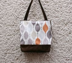 Tote bag handbag Italian cotton canvas and faux by CheriDemeter, $41.00