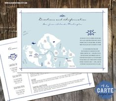 Information Direction Card with Custom Wedding Venue Map. $100.00, via Etsy.