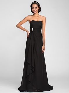 Lanting Sweep/Brush Train Chiffon Bridesmaid Dress - Black Plus Sizes / Petite A-line Strapless - USD $80.99