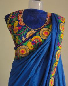 Bright Blue Fancy Saree With Embroidered Border Price: 9,500INR