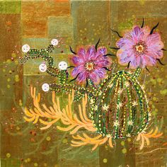 "Image: artist Alexandra Gjurasic  Purple Petals, 24""x24"", mixed media painting on gold paper mounted on wood, 2010 www.alexandragjurasic.com"