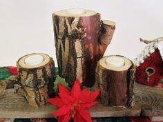 Rustic Candle Holders Set of 3 Wooden by DivineRusticCreation, $29.95 #rustic decor #candle holders #Christmas gift