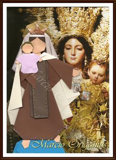 """Nossa Senhora do Carmo; peças feitas com base no livro """"Santo de Casa - dobrando com devoção"""", de Nunes, Galvão e Young. Dobrada por Marcio Jorge Galvão."""