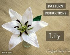Patrón de lirio oriental - Crochet patrón flor - Idea del regalo de ganchillo romántico lirio - Idea de regalo para ella - San Valentín