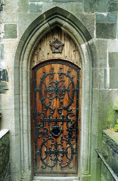 Wood and iron cathedral door. Norway