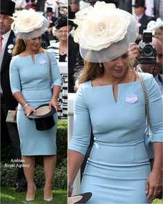2018 Stunning in a Roland Mouret baby blue dress Princess Haya of Jordan attend day one of Royal Ascot at Ascot Racecourse. Classy Work Outfits, Classy Dress, Chic Outfits, Dress Outfits, Fashion Outfits, Ascot Outfits, African Lace Dresses, African Dresses For Women, African Attire