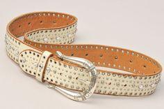 Ivory Leather Fossil Belt Rhinestone Studded Silver Western Style Buckle Medium…