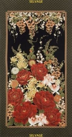 "Timeless Treasures Imperial Garden by Chong-a-Hwang CM2751 Black 24"" Panel #TimelessTreasuresFabric"