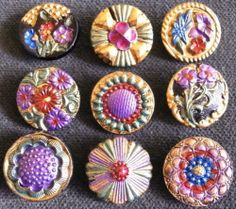 Collection of 9 Czech Antique 1920's Glass Buttons D16 RARE   eBay