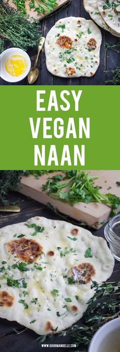 Easy Homemade Vegan Naan - #naan #indianrecipes Here's how you can make homemade vegan naan easily and with just a couple of basic ingredients. Give it a try and enjoy this delicious Indian bread.https://gourmandelle.com/vegan-naan/