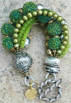 Exotic Tibetan Silver, Green Glass, Lime, Brass and Copper Multi-Strand Mixed-Media Bracelet $225