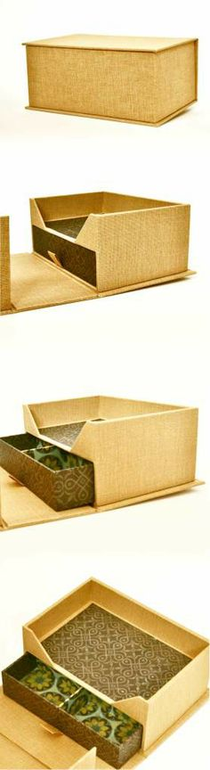 Box with drawer. Clamshell box.