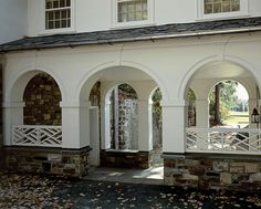 Stone, white and chippendale - Bedford, New York Exterior Trim, Exterior Design, Colonial Exterior, Bedford New York, Brick Fence, Breezeway, Pool Houses, Classic House, Architectural Elements
