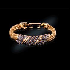 Jackie Kennedy Simulated Amethyst  Mesh Bracelet. $82