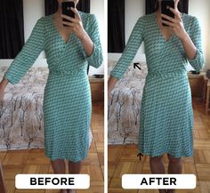 How to slim sleeves and armhole, and raise neckline of a wrap dress by PetiteAsianGirl, via Flickr