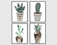 Succulents prints, Cactus, plants, wall art, wall decor, printable, set of 4…