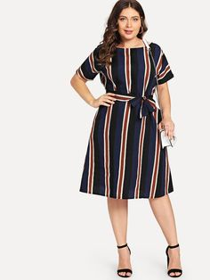 Shop Plus Colorblock Striped Dress online. SheIn offers Plus Colorblock Striped Dress & more to fit your fashionable needs. Vestidos Plus Size, Plus Size Dresses, Plus Size Outfits, Belted Dress, The Dress, Striped Dress, Surplice Dress, Plus Size Womens Clothing, Plus Size Fashion